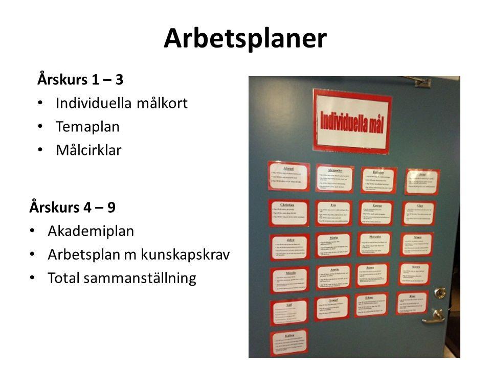 Arbetsplaner Årskurs 1 – 3 Individuella målkort Temaplan Målcirklar Årskurs 4 – 9 Akademiplan Arbetsplan m kunskapskrav Total sammanställning