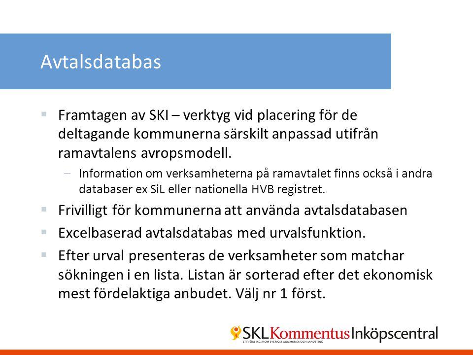 Avtalsdatabas  Framtagen av SKI – verktyg vid placering för de deltagande kommunerna särskilt anpassad utifrån ramavtalens avropsmodell. –Information