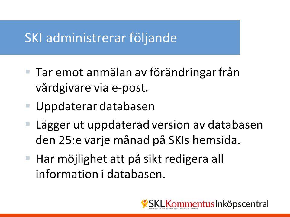SKI administrerar följande  Tar emot anmälan av förändringar från vårdgivare via e-post.  Uppdaterar databasen  Lägger ut uppdaterad version av dat