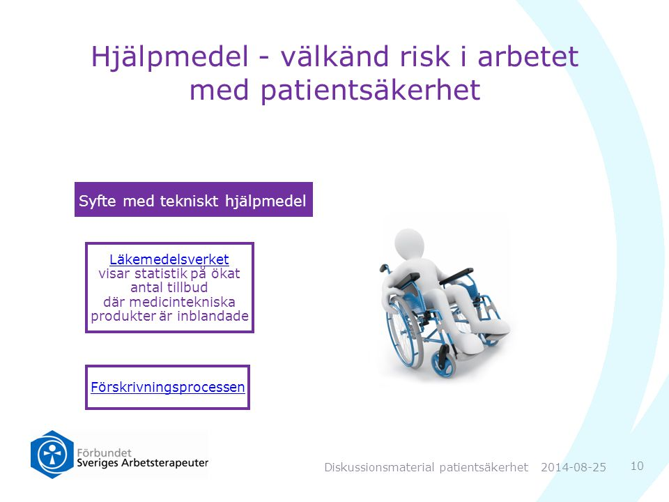 Syfte med tekniskt hjälpmedel Förskrivningsprocessen Läkemedelsverket Läkemedelsverket visar statistik på ökat antal tillbud där medicintekniska produkter är inblandade Hjälpmedel - välkänd risk i arbetet med patientsäkerhet 10 2014-08-25Diskussionsmaterial patientsäkerhet