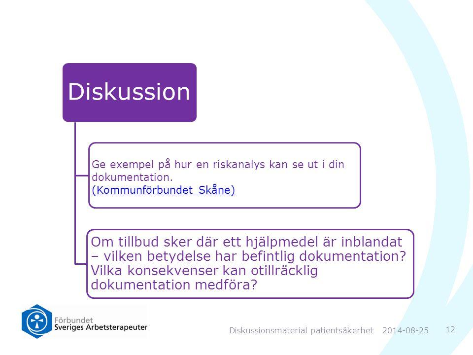 Diskussion Ge exempel på hur en riskanalys kan se ut i din dokumentation.