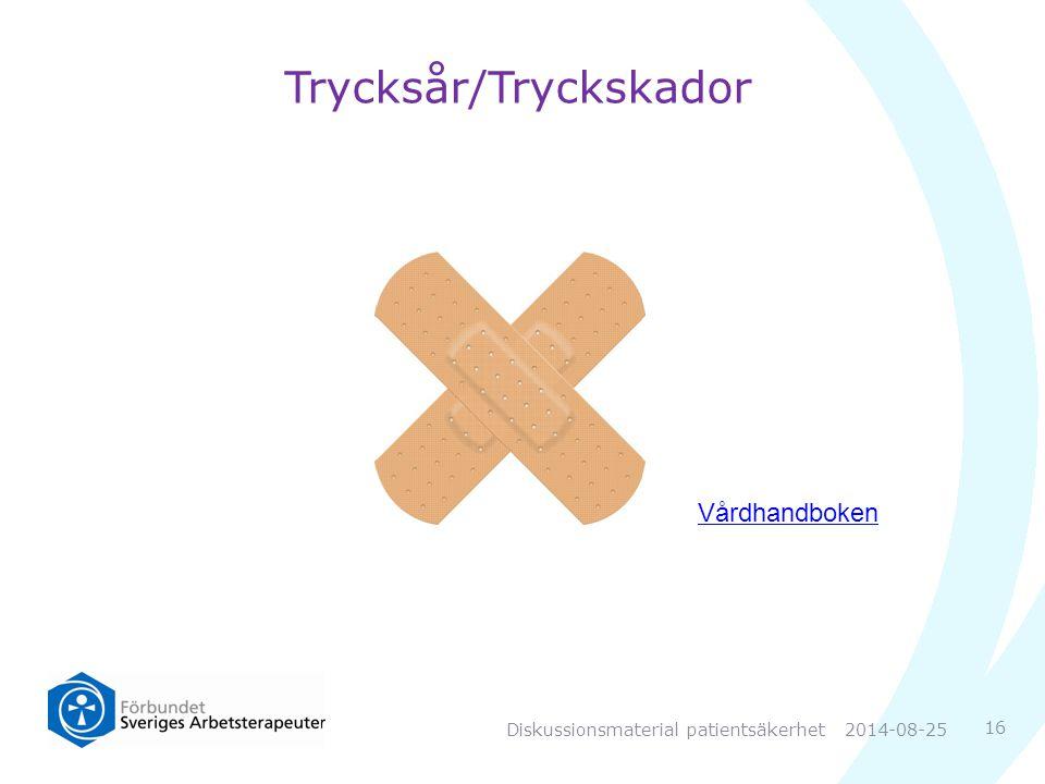 Trycksår/Tryckskador Vårdhandboken 16 2014-08-25Diskussionsmaterial patientsäkerhet