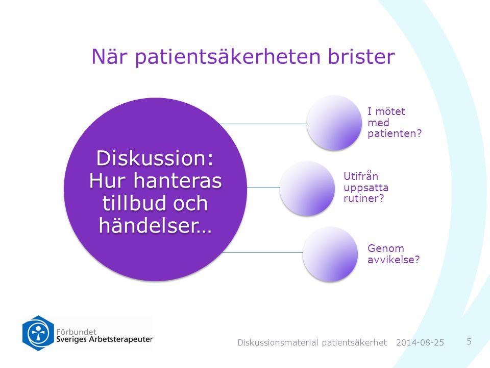 När patientsäkerheten brister 5 Diskussion: Hur hanteras tillbud och händelser… I mötet med patienten.
