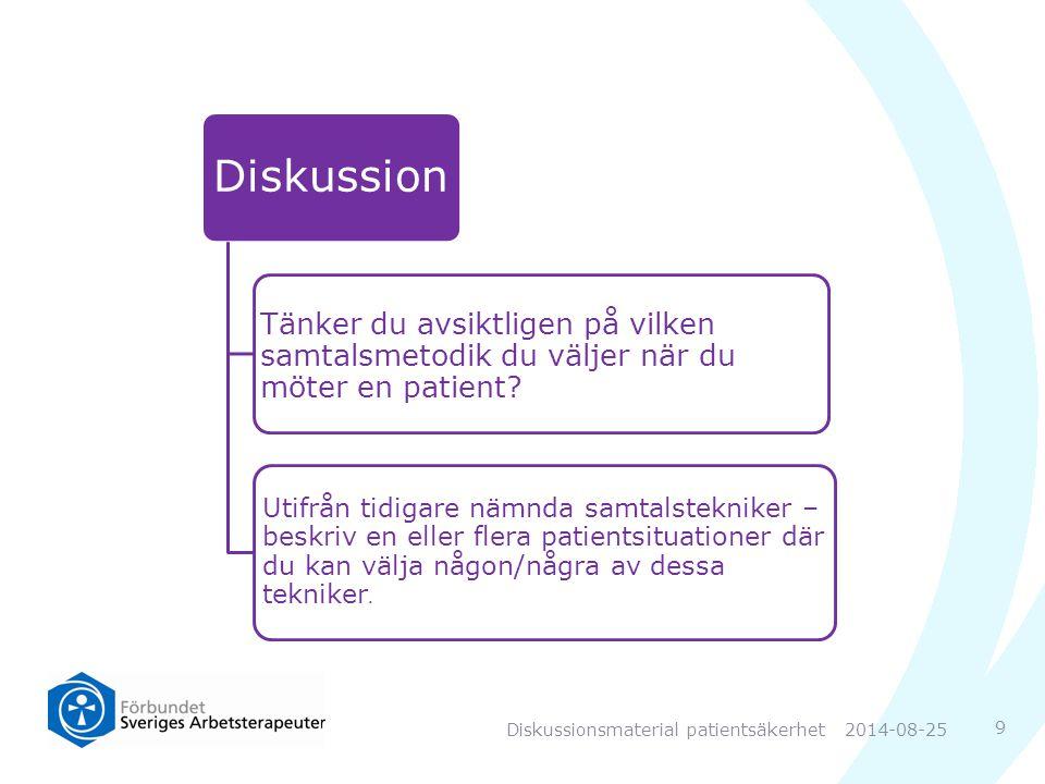 9 Diskussion Tänker du avsiktligen på vilken samtalsmetodik du väljer när du möter en patient.