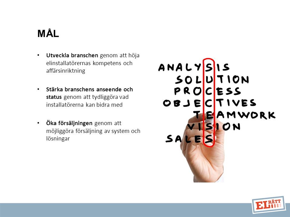 Utveckla branschen genom att höja elinstallatörernas kompetens och affärsinriktning Stärka branschens anseende och status genom att tydliggöra vad installatörerna kan bidra med Öka försäljningen genom att möjliggöra försäljning av system och lösningar MÅL