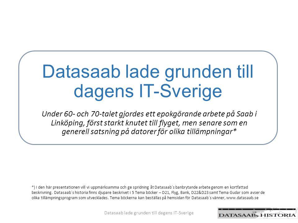 Landvinningar – Datasaab var före sin tid på många olika områden Datasaab lade grunden till dagens IT-Sverige Tidig standardisering – enhetskretsen som minsta element i maskinvarukonstruktionen på 1960 talet banade väg för industrialisering av den digitala tekniken.