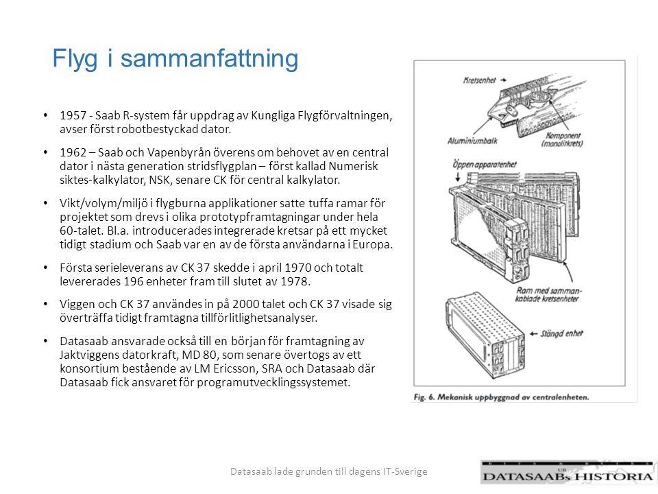 D20 i sammanfattning Samarbetet med Skandinaviska Elverk följdes av flera stora affärer där Datasaabs tekniska kunnande hade stor betydelse för att anpassa sig till kundens behov av såväl tekniska som administrativa uppgifter: SMHI, Vägverket, Kockums, Flygmotor, Allmänna Brand, ANA, Industridata, Söderberg&Haak m.fl.