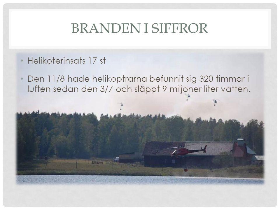 BRANDEN I SIFFROR Helikoterinsats 17 st Den 11/8 hade helikoptrarna befunnit sig 320 timmar i luften sedan den 3/7 och släppt 9 miljoner liter vatten.