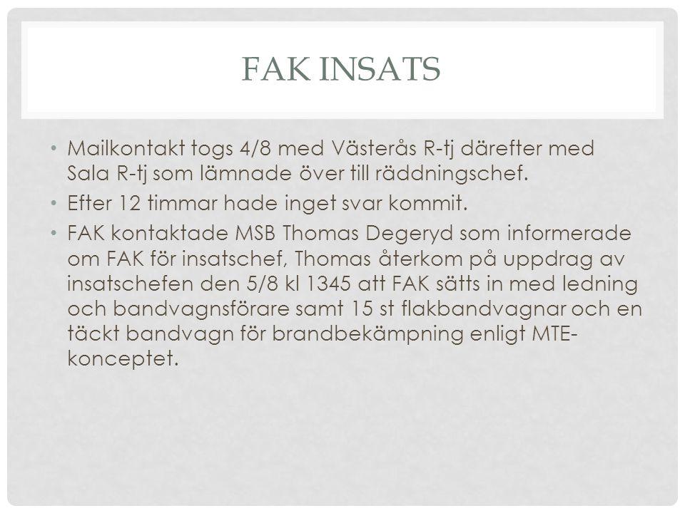 FAK INSATS Mailkontakt togs 4/8 med Västerås R-tj därefter med Sala R-tj som lämnade över till räddningschef. Efter 12 timmar hade inget svar kommit.