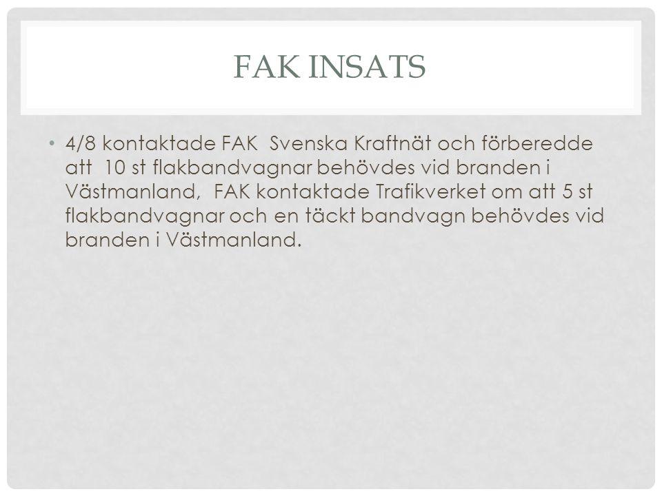 FAK INSATS 4/8 kontaktade FAK Svenska Kraftnät och förberedde att 10 st flakbandvagnar behövdes vid branden i Västmanland, FAK kontaktade Trafikverket om att 5 st flakbandvagnar och en täckt bandvagn behövdes vid branden i Västmanland.