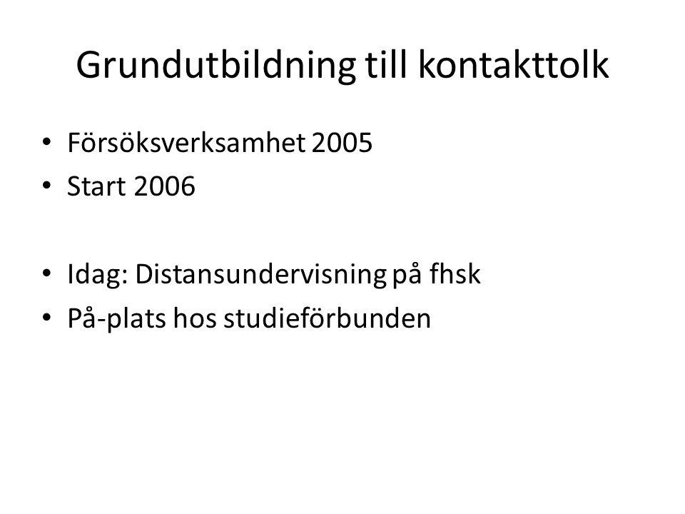 Grundutbildning till kontakttolk Försöksverksamhet 2005 Start 2006 Idag: Distansundervisning på fhsk På-plats hos studieförbunden