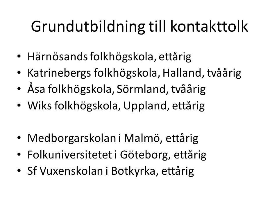 Grundutbildning till kontakttolk Härnösands folkhögskola, ettårig Katrinebergs folkhögskola, Halland, tvåårig Åsa folkhögskola, Sörmland, tvåårig Wiks folkhögskola, Uppland, ettårig Medborgarskolan i Malmö, ettårig Folkuniversitetet i Göteborg, ettårig Sf Vuxenskolan i Botkyrka, ettårig