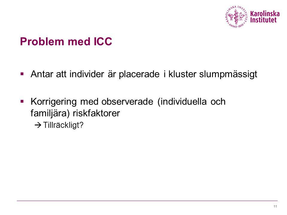 Problem med ICC  Antar att individer är placerade i kluster slumpmässigt  Korrigering med observerade (individuella och familjära) riskfaktorer  Tillräckligt.