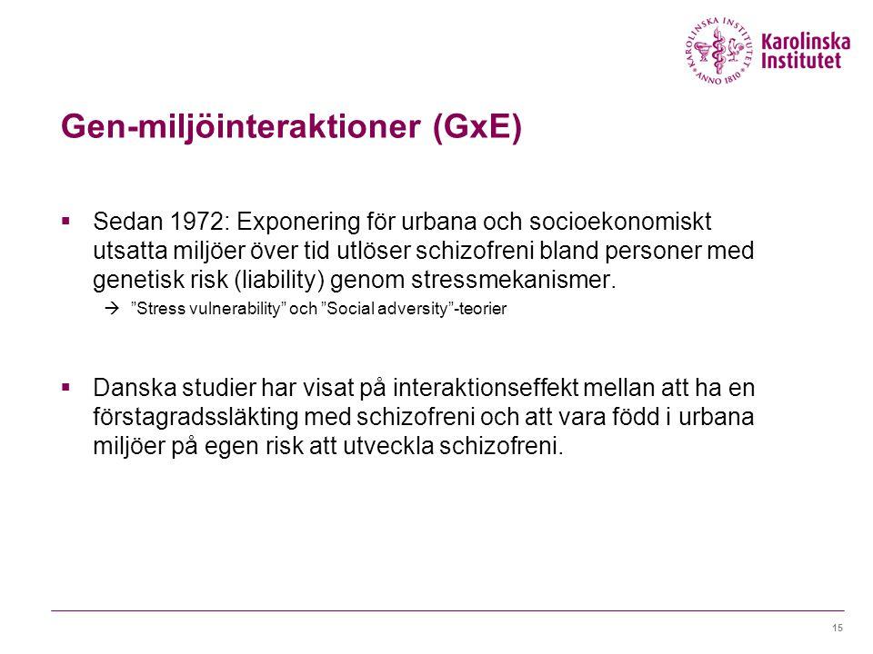 Gen-miljöinteraktioner (GxE)  Sedan 1972: Exponering för urbana och socioekonomiskt utsatta miljöer över tid utlöser schizofreni bland personer med genetisk risk (liability) genom stressmekanismer.