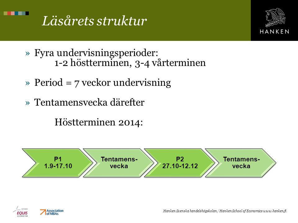 Läsårets struktur »Fyra undervisningsperioder: 1-2 höstterminen, 3-4 vårterminen »Period = 7 veckor undervisning »Tentamensvecka därefter Höstterminen