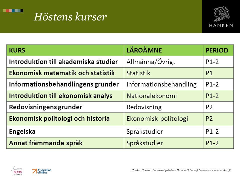 Höstens kurser KURSLÄROÄMNEPERIOD Introduktion till akademiska studierAllmänna/ÖvrigtP1-2 Ekonomisk matematik och statistikStatistikP1 Informationsbeh