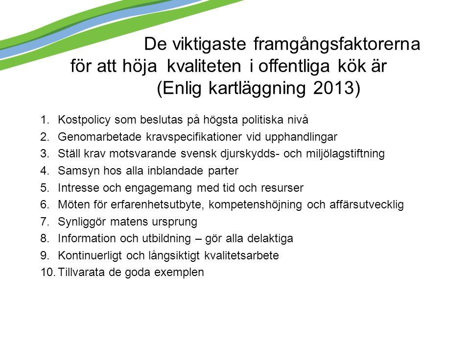 De viktigaste framgångsfaktorerna för att höja kvaliteten i offentliga kök är (Enlig kartläggning 2013) 1.Kostpolicy som beslutas på högsta politiska