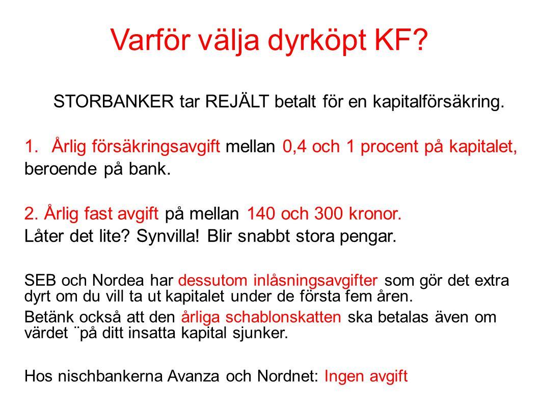 Varför välja dyrköpt KF? STORBANKER tar REJÄLT betalt för en kapitalförsäkring. 1.Årlig försäkringsavgift mellan 0,4 och 1 procent på kapitalet, beroe