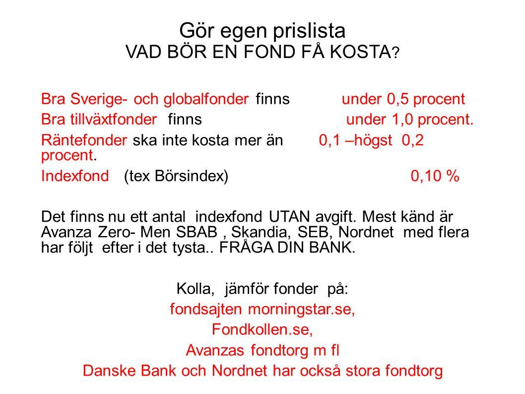 Gör egen prislista VAD BÖR EN FOND FÅ KOSTA ? Bra Sverige- och globalfonder finns under 0,5 procent Bra tillväxtfonder finns under 1,0 procent. Räntef