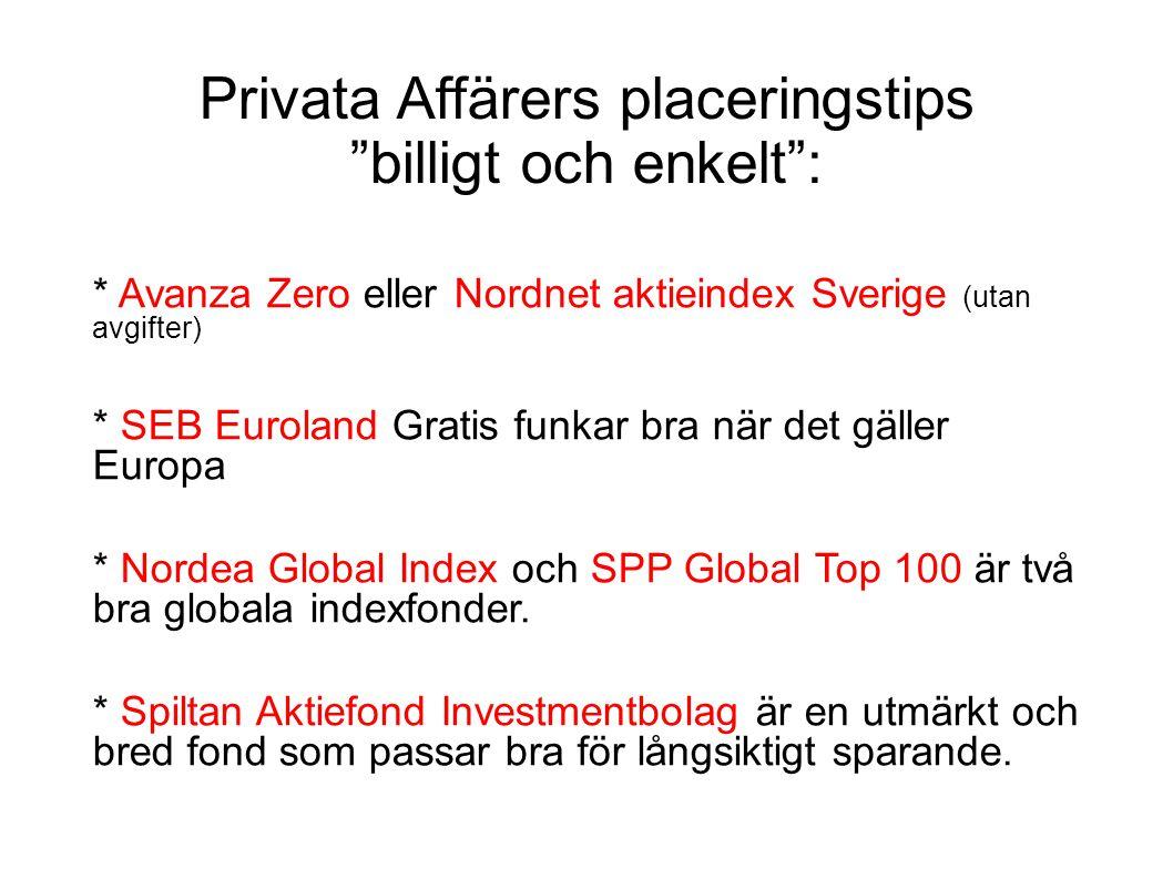 """Privata Affärers placeringstips """"billigt och enkelt"""": * Avanza Zero eller Nordnet aktieindex Sverige (utan avgifter) * SEB Euroland Gratis funkar bra"""
