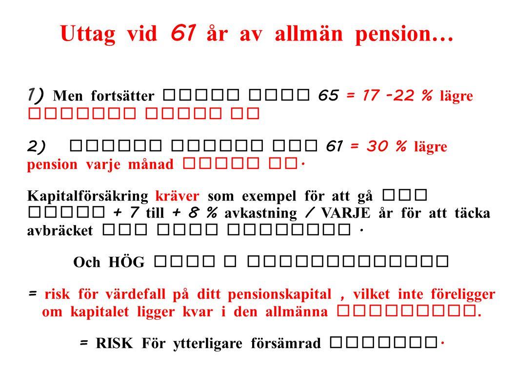 Uttag vid 61 år av allmän pension… 1) Men fortsätter jobba till 65 = 17 -22 % lägre pension livet ut 2) Slutar arbeta vid 61 = 30 % lägre pension varj