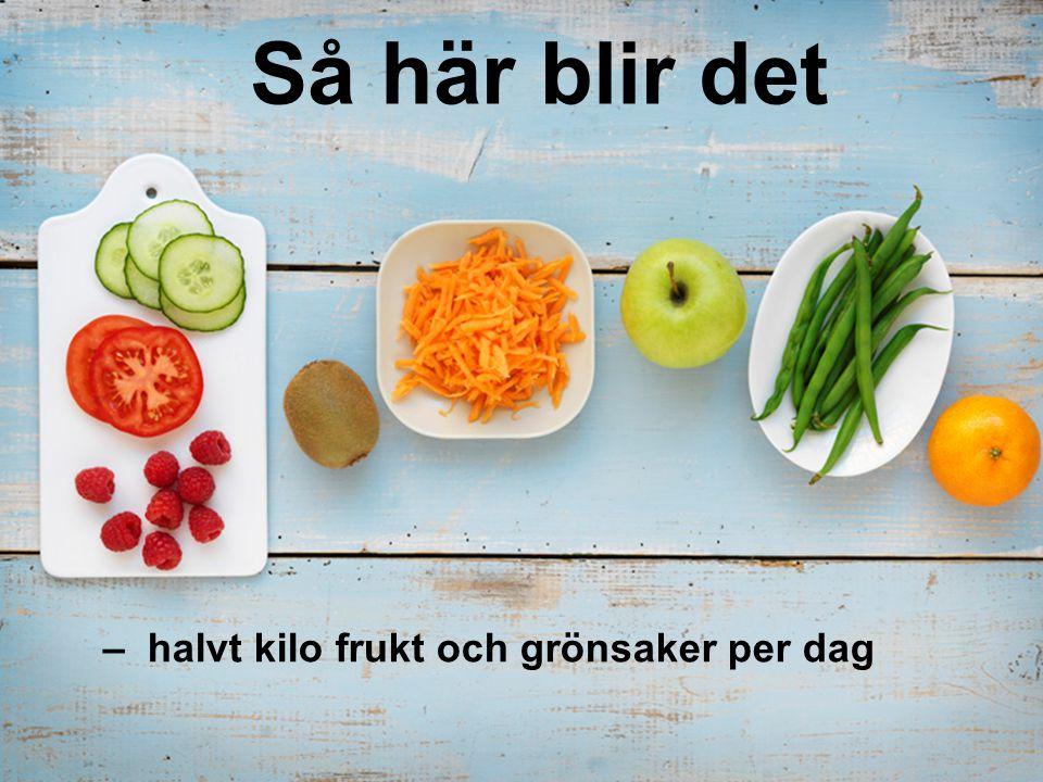 – halvt kilo frukt och grönsaker per dag Så här blir det