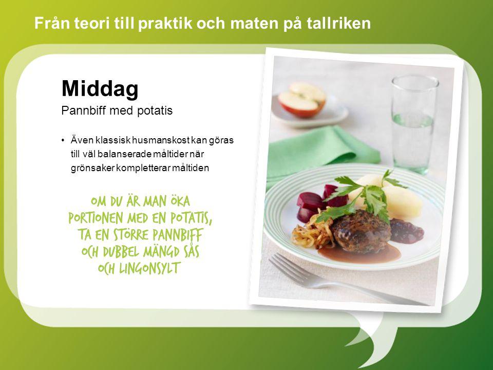 Även klassisk husmanskost kan göras till väl balanserade måltider när grönsaker kompletterar måltiden Från teori till praktik och maten på tallriken Middag Pannbiff med potatis