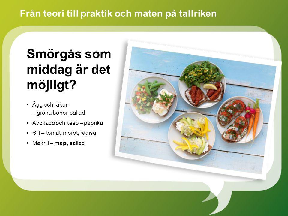Ägg och räkor – gröna bönor, sallad Avokado och keso – paprika Sill – tomat, morot, rädisa Makrill – majs, sallad Från teori till praktik och maten på