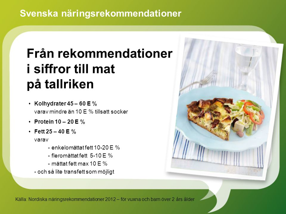 Kolhydrater 45 – 60 E % varav mindre än 10 E % tillsatt socker Protein 10 – 20 E % Fett 25 – 40 E % varav - enkelomättat fett 10-20 E % - fleromättat fett 5-10 E % - mättat fett max 10 E % - och så lite transfett som möjligt Svenska näringsrekommendationer Källa: Nordiska näringsrekommendationer 2012 – för vuxna och barn över 2 års ålder Från rekommendationer i siffror till mat på tallriken
