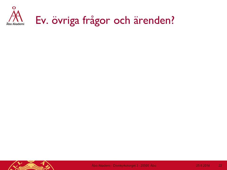 Ev. övriga frågor och ärenden? 25.8.2014Åbo Akademi - Domkyrkotorget 3 - 20500 Åbo 22