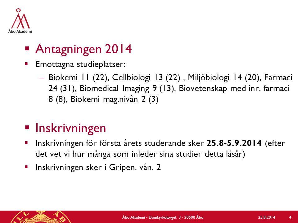  Antagningen 2014  Emottagna studieplatser: – Biokemi 11 (22), Cellbiologi 13 (22), Miljöbiologi 14 (20), Farmaci 24 (31), Biomedical Imaging 9 (13), Biovetenskap med inr.