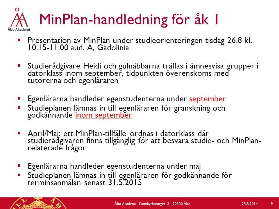 MinPlan-handledning för åk 1  Presentation av MinPlan under studieorienteringen tisdag 26.8 kl.