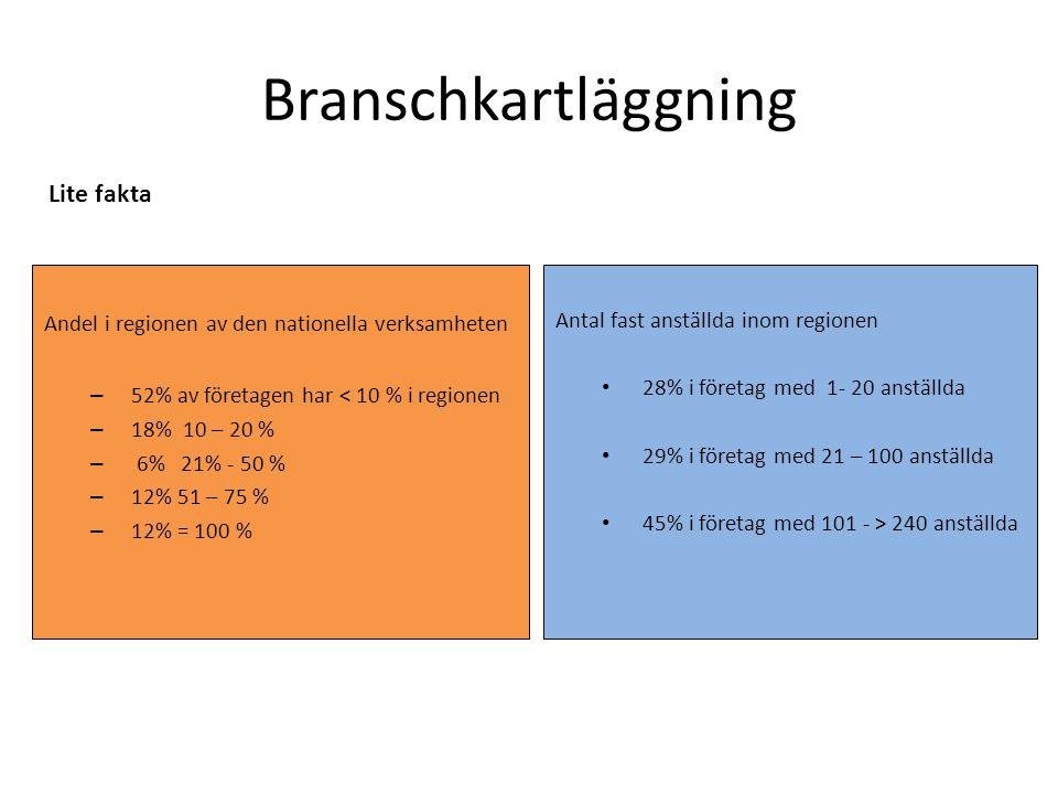 Branschkartläggning Andel i regionen av den nationella verksamheten – 52% av företagen har < 10 % i regionen – 18% 10 – 20 % – 6% 21% - 50 % – 12% 51