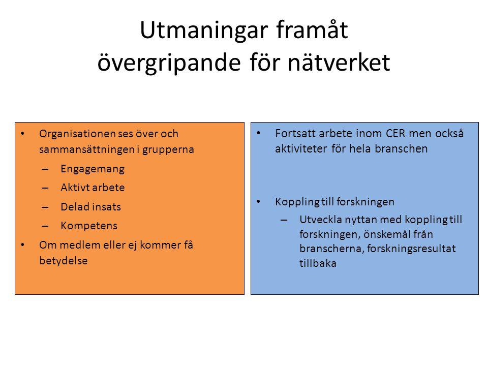 Utmaningar framåt övergripande för nätverket Organisationen ses över och sammansättningen i grupperna – Engagemang – Aktivt arbete – Delad insats – Ko