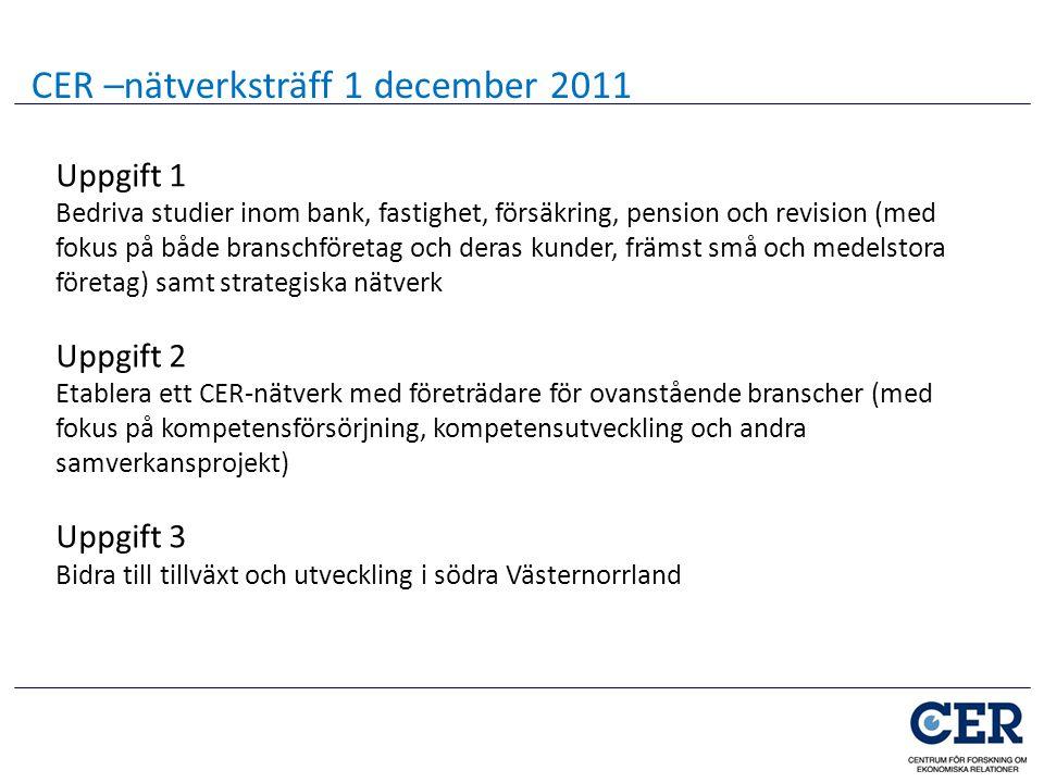 Uppgift 1 Bedriva studier inom bank, fastighet, försäkring, pension och revision (med fokus på både branschföretag och deras kunder, främst små och me