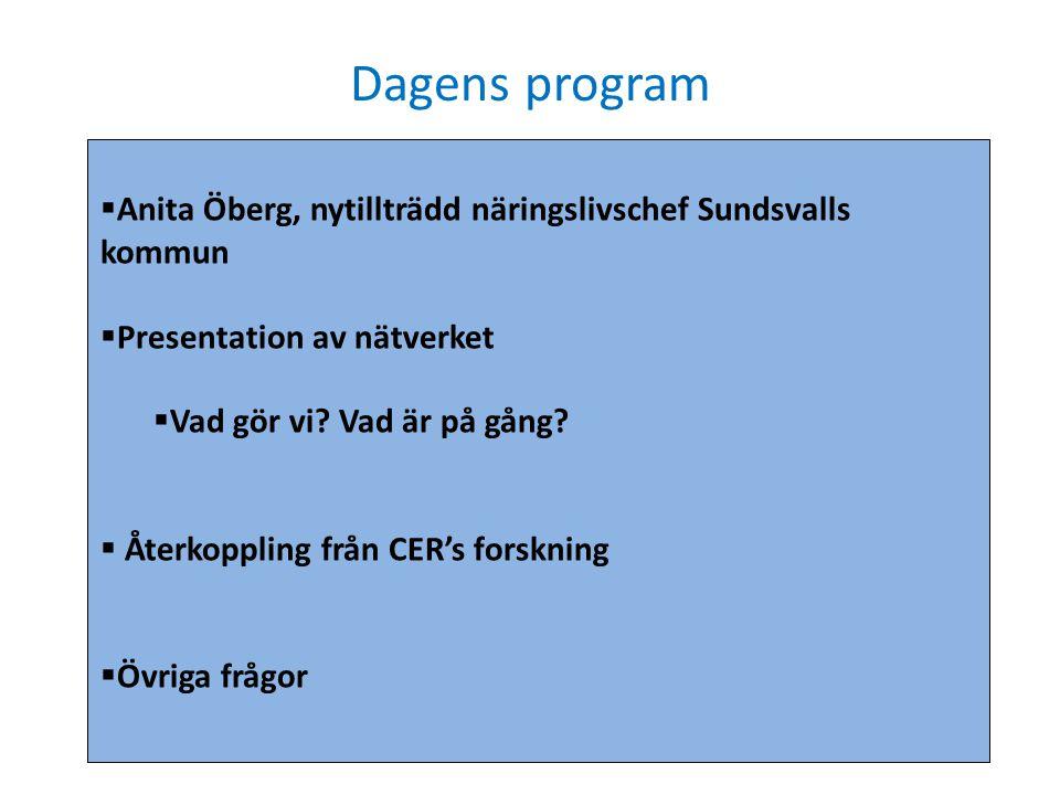 Dagens program  Anita Öberg, nytillträdd näringslivschef Sundsvalls kommun  Presentation av nätverket  Vad gör vi? Vad är på gång?  Återkoppling f