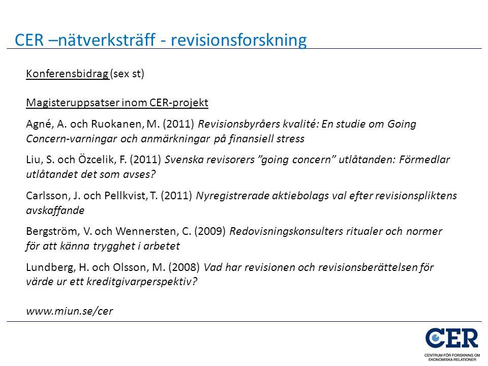 Konferensbidrag (sex st) Magisteruppsatser inom CER-projekt Agné, A. och Ruokanen, M. (2011) Revisionsbyråers kvalité: En studie om Going Concern-varn