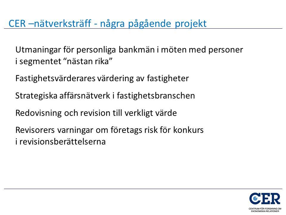 """Utmaningar för personliga bankmän i möten med personer i segmentet """"nästan rika"""" Fastighetsvärderares värdering av fastigheter Strategiska affärsnätve"""
