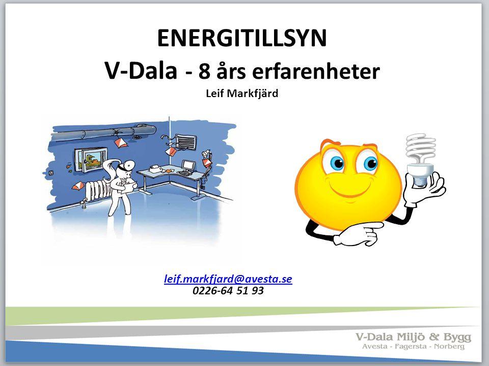 ENERGITILLSYN V-Dala - 8 års erfarenheter Leif Markfjärd leif.markfjard@avesta.se 0226-64 51 93