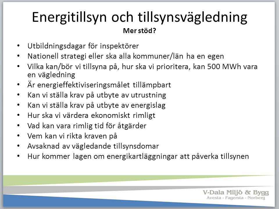 Energitillsyn och tillsynsvägledning Mer stöd? Utbildningsdagar för inspektörer Nationell strategi eller ska alla kommuner/län ha en egen Vilka kan/bö