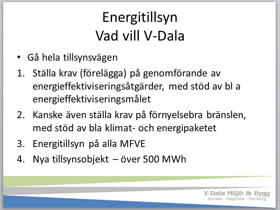 Energitillsyn Vad vill V-Dala Gå hela tillsynsvägen 1.Ställa krav (förelägga) på genomförande av energieffektiviseringsåtgärder, med stöd av bl a ener
