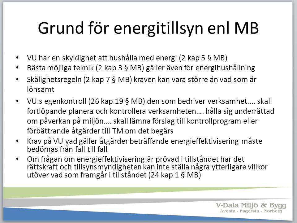Grund för energitillsyn enl MB VU har en skyldighet att hushålla med energi (2 kap 5 § MB) Bästa möjliga teknik (2 kap 3 § MB) gäller även för energih