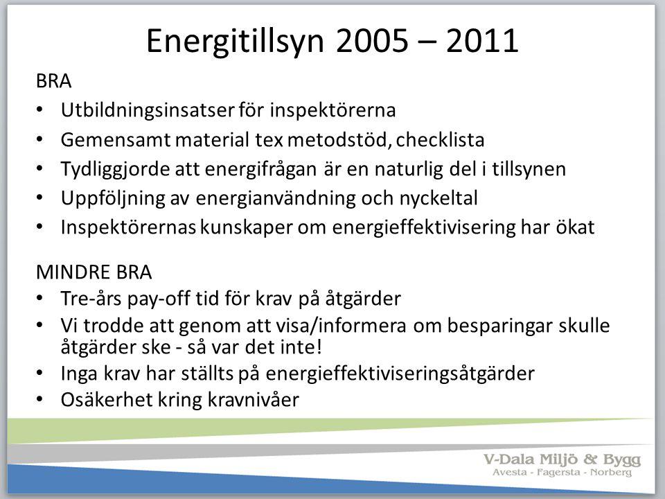 Energitillsyn 2005 – 2011 BRA Utbildningsinsatser för inspektörerna Gemensamt material tex metodstöd, checklista Tydliggjorde att energifrågan är en n