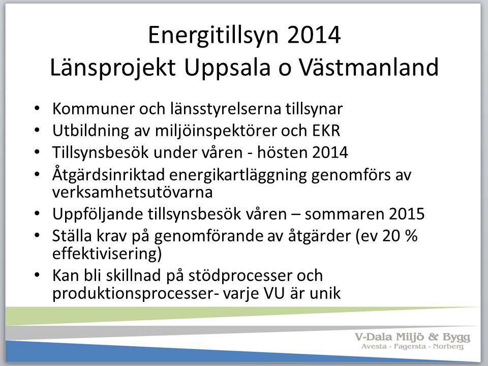 Energitillsyn 2014 Länsprojekt Uppsala o Västmanland Kommuner och länsstyrelserna tillsynar Utbildning av miljöinspektörer och EKR Tillsynsbesök under