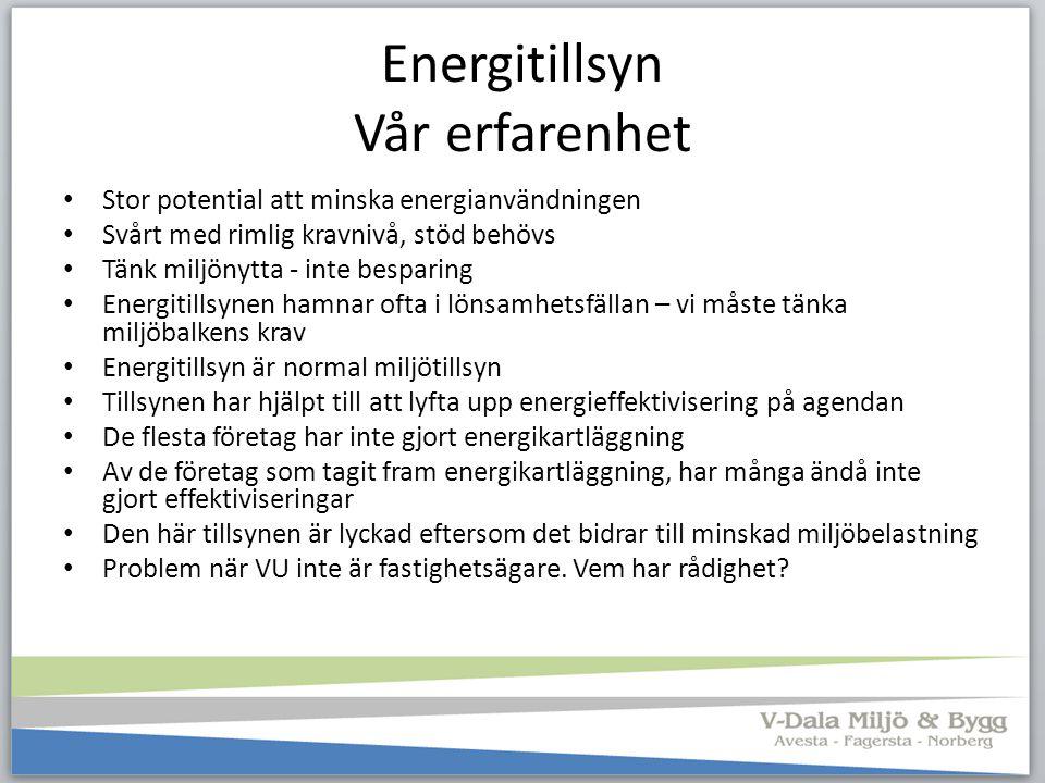 Energitillsyn Vår erfarenhet Stor potential att minska energianvändningen Svårt med rimlig kravnivå, stöd behövs Tänk miljönytta - inte besparing Ener