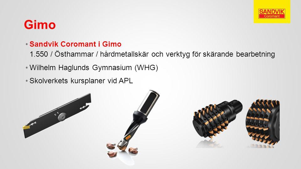 Sandvik Coromant i Gimo 1.550 / Östhammar / hårdmetallskär och verktyg för skärande bearbetning Wilhelm Haglunds Gymnasium (WHG) Skolverkets kursplane