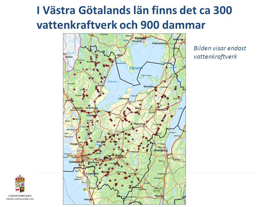I Västra Götalands län finns det ca 300 vattenkraftverk och 900 dammar Bilden visar endast vattenkraftverk
