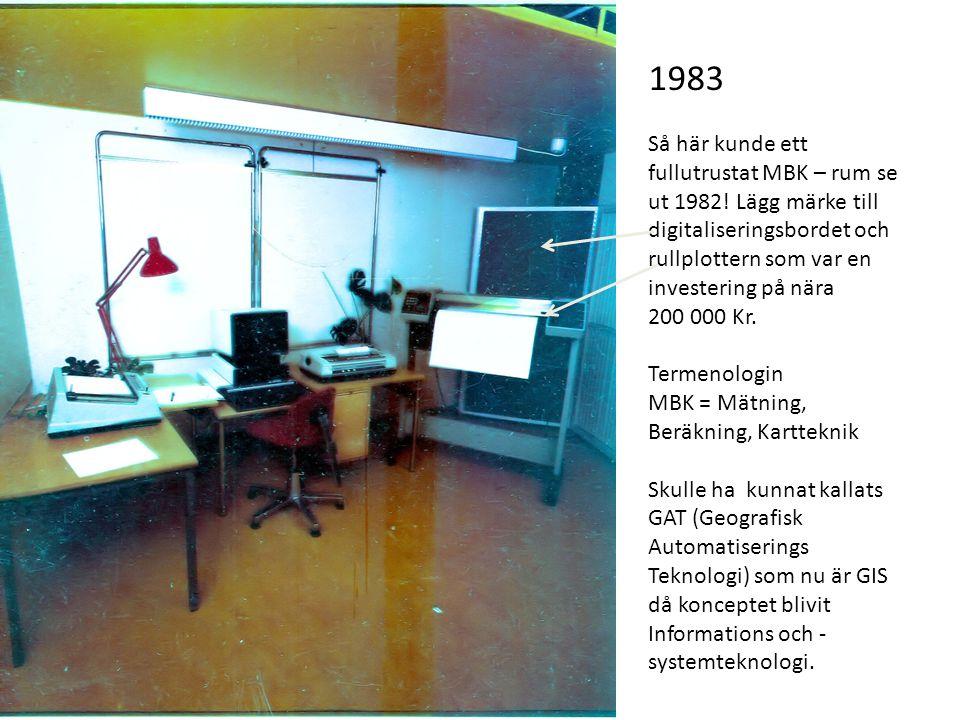 1983 Så här kunde ett fullutrustat MBK – rum se ut 1982! Lägg märke till digitaliseringsbordet och rullplottern som var en investering på nära 200 000