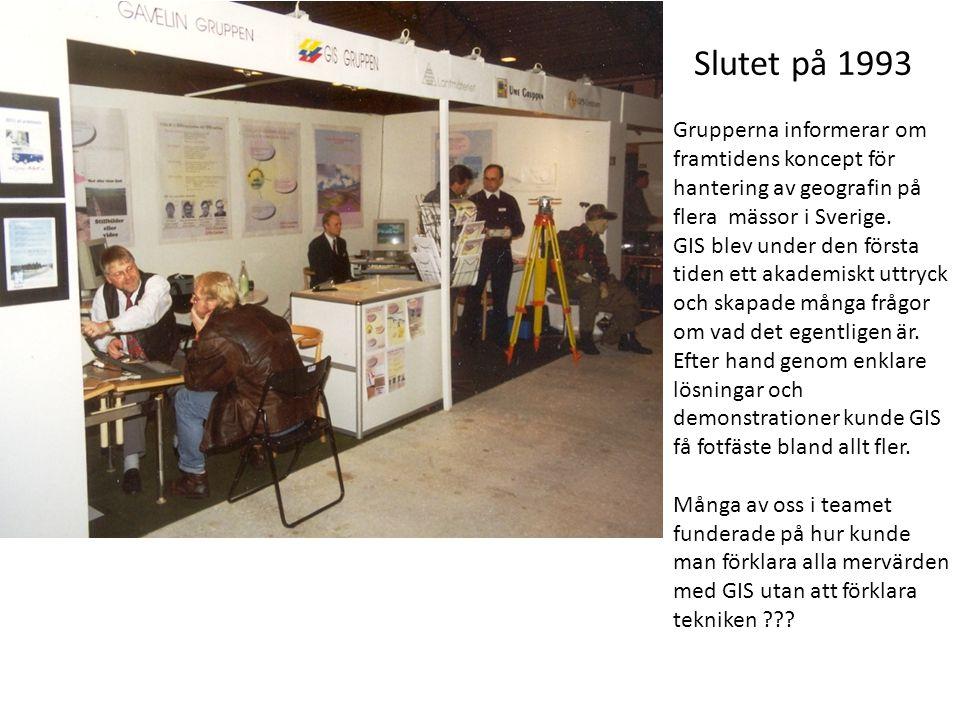 Slutet på 1993 Grupperna informerar om framtidens koncept för hantering av geografin på flera mässor i Sverige. GIS blev under den första tiden ett ak
