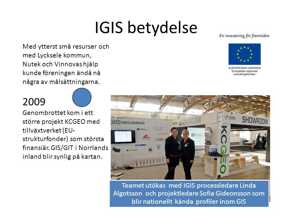 IGIS betydelse Teamet utökas med IGIS processledare Linda Algotsson och projektledare Sofia Gideonsson som blir nationellt kända profiler inom GIS Med ytterst små resurser och med Lycksele kommun, Nutek och Vinnovas hjälp kunde föreningen ändå nå några av målsättningarna.
